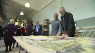 Interior shots Prince Charles Prince of Wales talking with artist Philip Hardaker and looking at artwork whilst on visit to the Burslem School of Art...