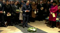 Interior shots Prince Charles the Prince of Wales lays wreath at grave of writer Charles Dickens in Westminster Abbey on the 200th Anniversary of his...