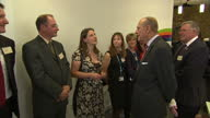 Interior shots Prince Philip Duke of Edinburgh talking and laughing with officials and staff on visit to the Margaret Pyke Centre on May 21 2014 in...