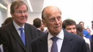 Interior shots Prince Philip meeting staff on visit to the New School of Veterinary Medicine at the University of Surrey on October 15 2015 in...