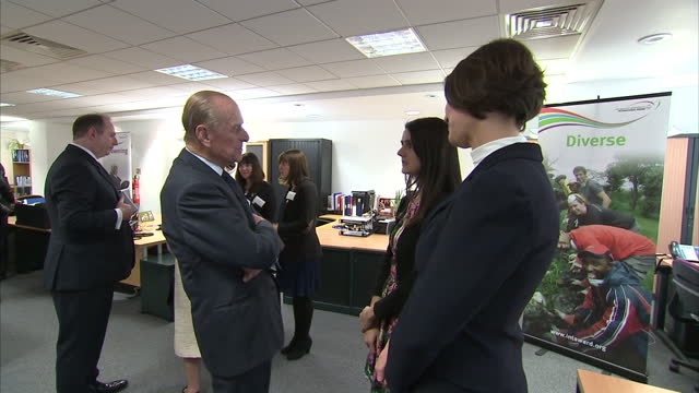 Interior shots Prince Philip talking to guests at the RSC on March 12 2014 in London England