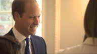Interior shots Prince William Duke of Cambridge talking and laughing with members of the England Woman's Football Team at Kensington Palace on July...