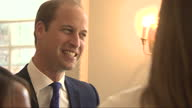 Interior shots Prince William Duke of Cambridge talking with members of the England Woman's Football Team at Kensington Palace on July 09 2015 in...