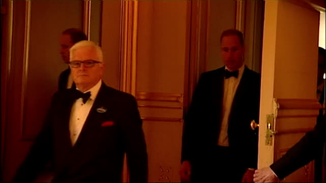Interior shots Prince William Duke of Cambridge walks into room and greets Royal Marsden Hospital CEO Cally Palmer and Chairman Ian Molson on May 13...