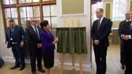 Interior shots Prince William unveils 'Life Rooms plaque' then signs visitors book