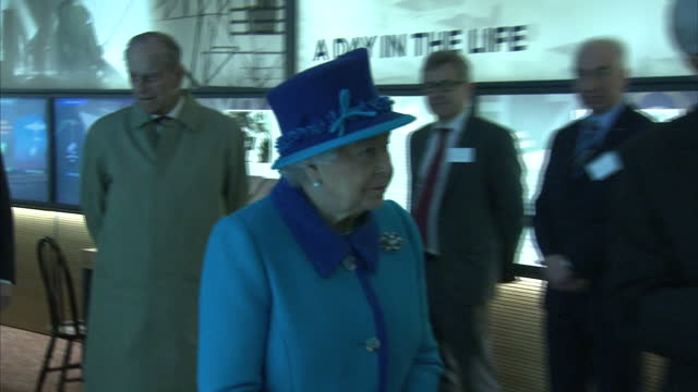 Interior shots Queen Elizabeth II and Prince Philip Duke of Edinburgh touring National Memorial to the Few Museum on March 26 2015 in Folkestone...