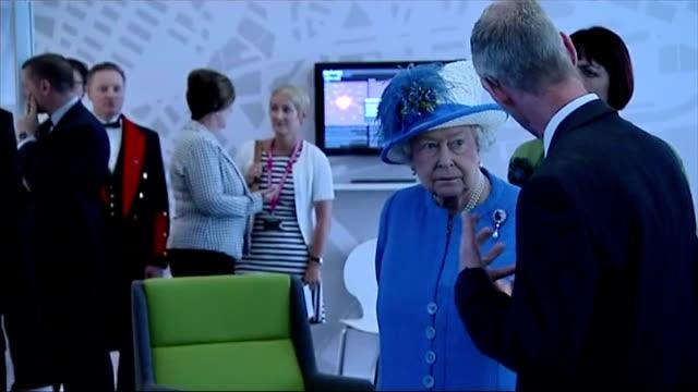 Interior shots Queen Elizabeth II being shown around Strathclyde University Research Centre on July 03 2015 in Glasgow Scotland