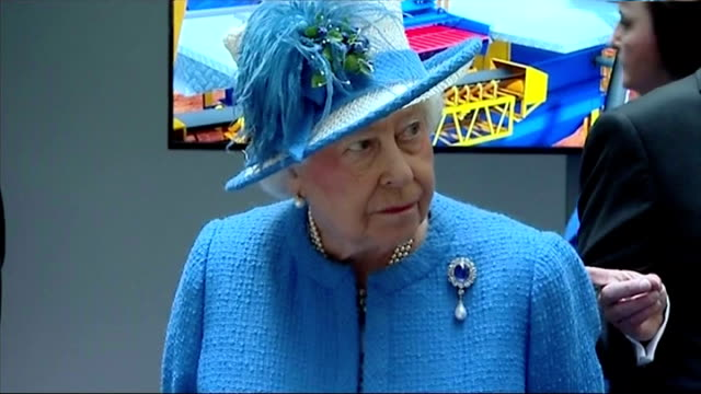 Interior shots Queen Elizabeth II being shown items on display whilst on visit to Strathclyde University Research Centre on July 03 2015 in Glasgow...