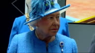 Interior shots Queen Elizabeth II listening with officials whilst on visit to Strathclyde University Research Centre on July 03 2015 in Glasgow...