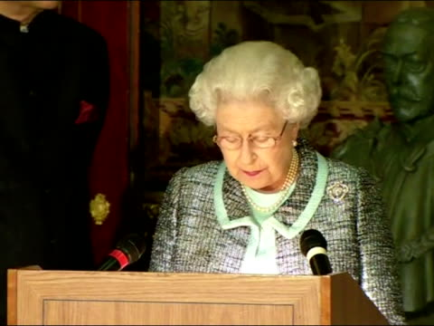 Interior shots Queen makes Commonwealth Day speech Queen has cancelled visit to Westminster Abbey due to illness on March 11 2013 in London England