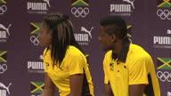 Interior shots Ristananna Tracey Jamaican 400m athlete and Andrew Riley Jamaican sprinter at Team Jamaica Presser on August 08 2016 in Rio de Janeiro...