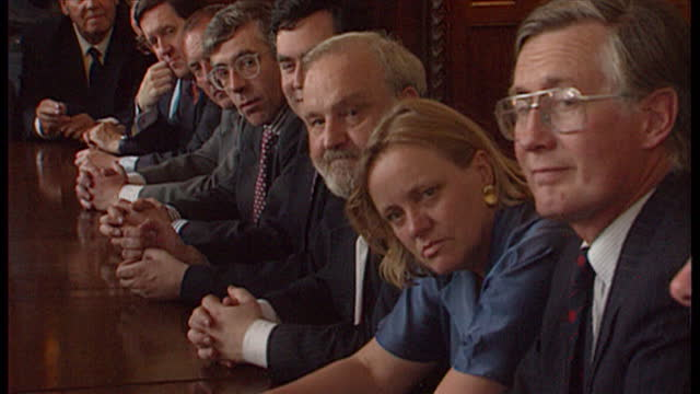 Interior shots Robin Cook speaking in shadow cabinet meeting followed by Jack Straw Gordon Brown on August 5th 1994 in UNSPECIFIED United Kingdom