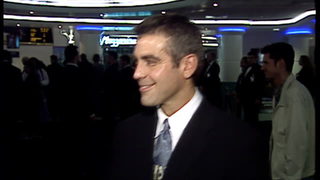 Interior shots showing actor George Clooney talking to media at premiere of 'Batman and Robin' movie on June 23 1997 in London United Kingdom
