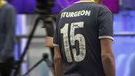 Interior shots SNP supporter wearing football style shirt with Sturgeon 15 on the back at the SNP 2015 party conference on October 17 2015 in...