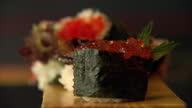 Interior shots sushi close up salmon roe gunkan dish Salmon Roe Gunkan Sushi on July 04 2013 in Edinburgh Scotland