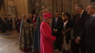 Interior shots the Queen walk into Westminster Abbey shake the hands of guests on March 10 2014 in London England