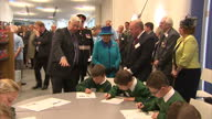 Interior shots to HM Queen Elizabeth 2 meeting school children whilst on a visit to a new visitor centre and musuem at the National Memorial on March...
