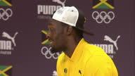 Interior shots Usain Bolt at Team Jamaica Presser on August 08 2016 in Rio de Janeiro Brazil