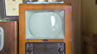 Interior shots vintage old TV invoices Television Licence TV Radio licence Receiving Licence documents old vintage TV sets on display at The British...