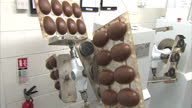 Interior shots worker placing chocolate Easter egg moulds onto Hollow Spinning Machine used to produce hollow chocolate eggs during the production of...