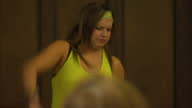 Interior shows Zumba class in progress with instructor 29th September 2011 in London England