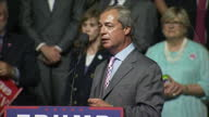Interior soundbite Nigel Farage Former UKIP Leader on stage at Republican rally event talking about President Barack Obama telling the UK to remain...