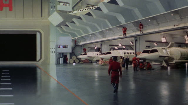MS Interior space ship with people walking