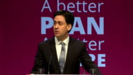 Interior Speech by Labour Party Leader Ed Miliband as they launch their manifesto for the upcoming general election on April 13 2015 in Manchester...