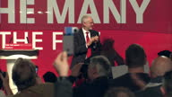 Interior speech by Labour Party Leader Jeremy Corbyn MP on 9th May 2017 Manchester England