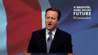 Interior Speech by the Conservative Party Leader David Cameron as they launch their Manifesto ahead of the 2015 General Election on April 14 2015 in...