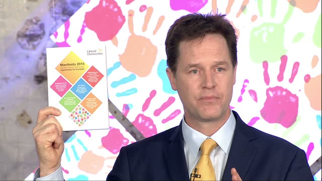 Interior Speech by the Leader of the Liberal Democrat Party Nick Clegg announcing his manifesto for the 2015 general election on April 15 2015 in...