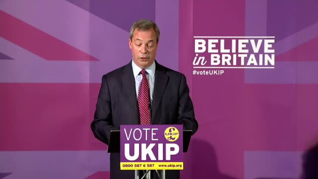 Interior Speech by UKIP Leader Nigel Farage as he launches his manifesto for the general election on April 15 2015 in Thurrock England