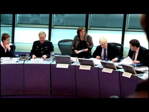 Interiors Boris Johnson pays tribute to outgoing police commissioner Sir Ian Blair at MPA meeting includes shots of Sir Ian Blair Catherine Crawford...