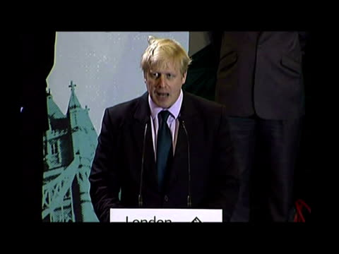 Interiors Boris Johnson victory speech after being elected as new Mayor of London