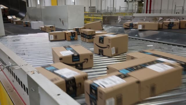 Interiors of the Amazon fulfillment center as boxes and packages are scanned in Kenosha Wisconsin August 1 2017 Photographer Jim Young Shots CU of...