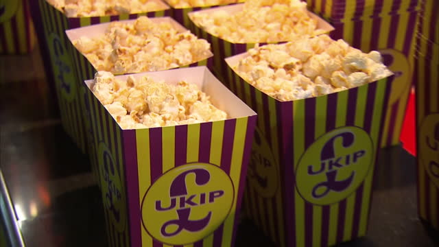 Interiors of UKIPbranded popcorn on February 12 2015 in Canvey Island England