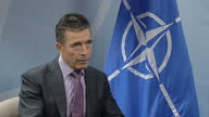 Internal shot Anders Fogh Rasmussen answers question on situation with Ukraine/Russia on March 07 2014 in Various BrusselsBelgium