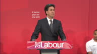Internal shots Ed Miliband Leader of labour Party addressing audience in the Brooks Building of Manchester University on subject of NHS healthcare on...