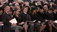 Internal shots of famous mourners attending the funeral of Baroness Thatcher including British Prime Minister David Cameron and his wife Samantha...
