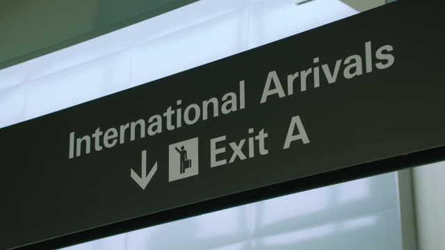 MS International Arrivals exit sign at SFO