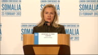 International Conference on Somalia held in London ENGLAND London INT Hillary Clinton press conference SOT AlShabab not on the side of peace...