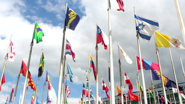 International flags and office building