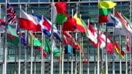 International flags in front of an office building