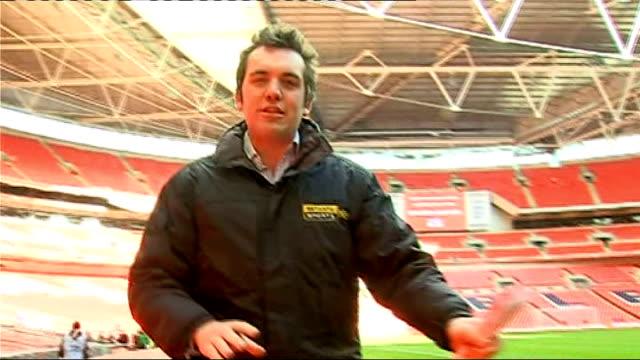 England v Slovakia Jamie Weir package ENGLAND London Wembley EXT Shots of pitch and stadium Jamie Weir PTC