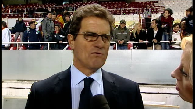 Spain v England postmatch interviews EXT Fabio Capello interview SOT Has learnt lots from game tonight / Need to play quicker and with more movement...