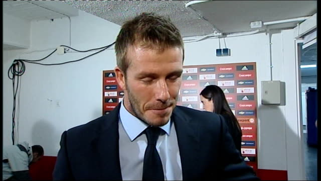 Spain v England postmatch interviews SPAIN Seville Ramon Sanchez Pizjuan Stadium INT David Beckham interview SOT Dream to have played as many games...
