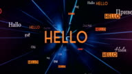 International HELLO Words Flying Towards Camera (Black) - Loop