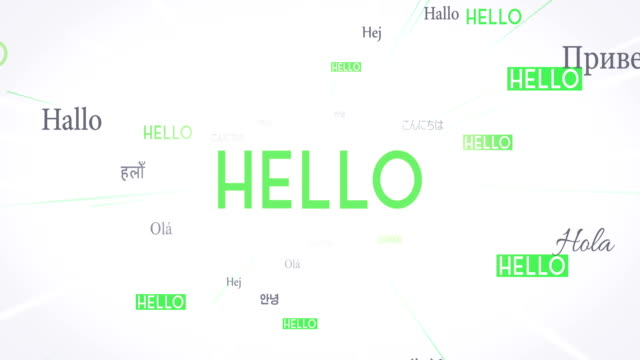 International HELLO Words Flying Towards Camera (White) - Loop