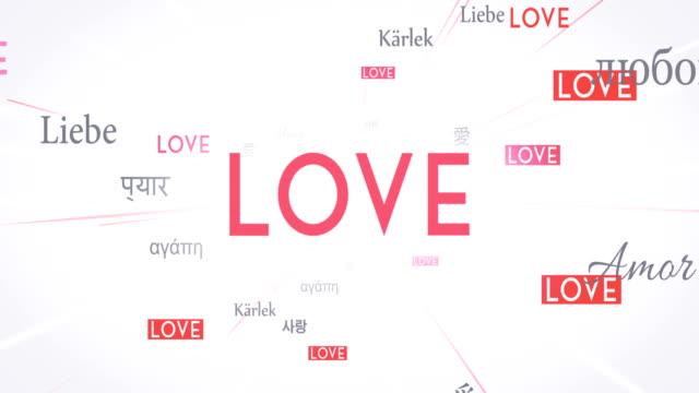 Internationalen Liebe Worte fliegen in Richtung Kamera (weiß) - Loop