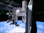 COMPUTER ANIMATED International Space Station floating over camera in outer space / Earth in background